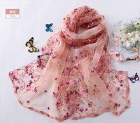 Wholesale LL color Organza silk embroidery lace shawl scarf flower High end wedding shawl Gold side W4096 CM