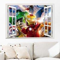 Wholesale 2015 Cartoon Le go Iron Man Hulk Wall Sticker Mural D Window Decal Boys Room Decor