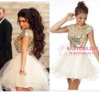 Graduación de 2015 barato vestidos de bola vestido princesa lentejuelas corto mini-vestido de fiesta oro tul falda baile Prom vestidos
