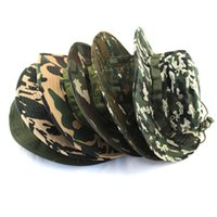 camouflage wholesale - 19 Colors Summer Style Outdoor cap Men Women Camouflage Fishing Hat Bucket Gorras Fisherman Carp Fishing Cap Y25334