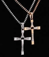 Bohemian cross necklaces - Movie The Fast and the Furious Celebrity Dominic Toretto K plated Gold Rhinestone Crystal Jesus Cross Pendant Necklaces Charm Jewelry