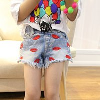 koran - Girls Clothes Jeans Summer Koran Style Girl Casual Lip Shape Printed Cowboy Short Pant Children Jean All match Kids Shorts I3958