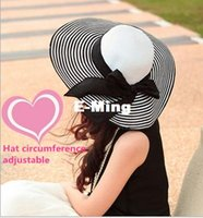 beach vietnam - Designer Women Elegant Wide Brim Vietnam Hats With A Bow Ladies Kentucky Derby Floppy Hat Foldable Big Straw Beach Sun Visors Bucket Caps