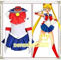 Wholesale Details about Women Deluxe Sailor Moon Tsukino Usagi Costume Cosplay Uniform Fancy Gloves