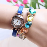 Wholesale 55pcs fashion women crystal jewelry stone bracelets watch fashion leather diamond moon star pendant retro watches for women