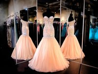 Cheap 2016 Prom Dresses Mermaid Evening Gowns Evening Wear Sweetheart Beaded Appliques Real Pictures Peach Wedding Senior Formal Gowns Cheap