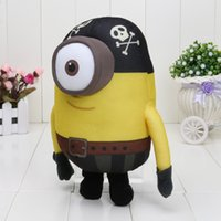 5pcs / lot 10inch 25cm Despicable Me Film Peluche Pirate Minion Yeux 3D poupée
