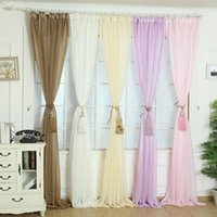 drapes curtains - New Elegant Solid Gauze Tulle Door Window Screens Balcony Curtain Drape Panel Sheer Scarf Valances x100cm Jecksion