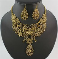 Wholesale Statement Necklace Earring Jewelry Sets Vintage Style Butterfly Flower Choker Bib Women Dress With Party Set