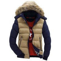 Wholesale Contrast Color Hooded Design Men Parka Size M XL Casual Fit Men s Winter Jacket Stand Collar Thick Man Down Jacket