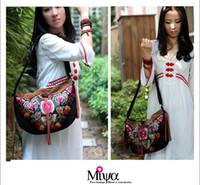 flower handbags - Embroidery Leather Handbag Messager Bag Ladies Bag Tassel Pompom Hmong Embroidered Flowers Messager Bag
