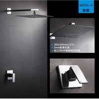 Wholesale Concealed Shower Set Concealed Shower Faucets inch Ultra Thin rainfall square shower head Bath tap mixer