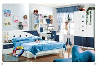 Wholesale Dark Blue Child Dream House Furniture Bedroom Furniture wood furniture Bed desk wardrobe cabinet boy bedroom MYL8811