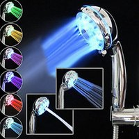 best sprinklers - 2015 Hot Sale Adjustable Mode Color LED Shower Head Temperature Sensor RGB Bath Sprinkler Best Quality