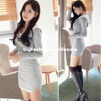 Wholesale Autumn Dress Women Fashion New Slim Hoodie Dress Korean Style Ladies Hooded Party Casual basic Mini dress