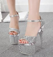 Cheap Fashion New Western Chic Spike Crystal Shoes Wedding Pumps Prom Gown Bridal Shoes Ultra High Heels 19CM size 34 to 38