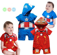 summer clothes for men - Summer clothing for toddler red iron man blue captain america cartoon short sleeve baby modelling romper infant hoodie jumpsuit