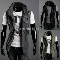 Cheap 2014 the new, the rare double collar design all cotton more pockets, men's cultivate one's morality leisure sleeveless jacket