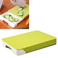 Wholesale Creative Multifunctional Fruit Vegetable Cutting Board Double deck Drawer Storage chopping block