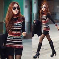 Nuovo coreano delle donne di modo Vestito di maglia maglietta retro Stampa shirt Collo manica lunga ispessito di base supera XXXL Plus Size G0948