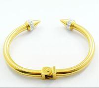 Wholesale Fashion cz diamonds inlaid L stainless steel nail cuff bangle spring bracelet jewelry for women