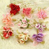 Wholesale 10 Pieces Cloth Artificial Colorful Wedding Wrist Flowers Petals Garlands Bridal casamento flor de pulso Low Price High Quality