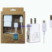 Wholesale Samsung in kit EU US A wall charger home travel adapter N7100 sync micro usb cable white with retail package for Samsung S4 S5 S6