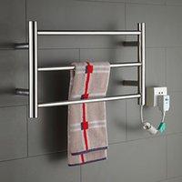bathroom heated towel rack - Deal Hot Sale Heated Towel Rail Stainless Steel Electric Towel Warmer Bathroom Towel Racks Holder Bathroom Accessories Wall Mounted