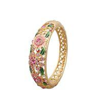 beijing beautiful - Ms aureate pink bracelet wide fashionable retro hollow out enamel bracelet Beijing cloisonne bracelet beautiful box