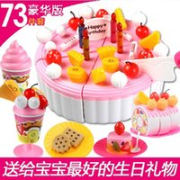 Wholesale 2015 Children play house Kitchen toys Cookware Set fruit birthday cake creative assembling toys HX