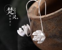 wooden earrings - Original handmade sterling silver jewelry earrings Campanula wooden fairy feeling S925 gift