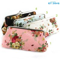 Wholesale Vintage Rose Flower Coin Purse Long Size x9CM Big Canvas Wallet With Iron Button Rose Wallet Hasp Clutch Handbag Money Bag