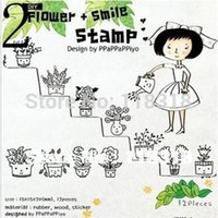 Wholesale Min Order is Styles DIY Scrapbooking Vintage Wood Stamps Flowers Cats Girls Stamp Decoration Stamp Set