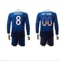 Cheap 2015 USA Soccer Jerseys Long Sleeve America Soccer Uniforms American Shirts Sets Dempsey 15 16 Away Football Kits Independence Day Jersey