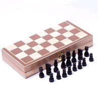 Wholesale Cheapest standard international folding portable wooden chess with pvc chess pieces