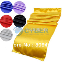 Wholesale 30Pcs Black Satin Table Runners Great For Wedding Party Banquet