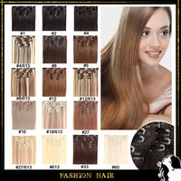 Wholesale Cheap Synthetic hair extensions Clip In Straight Synthetic Hair quot set g Full Head set Heat Resistance fiber Hair