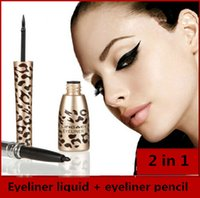 Cheap Top Quality One Pcs Leopard Shell Thick Black Eyeliner Liquid Waterproof and eyeliner pen combine 2 in 1 as a set