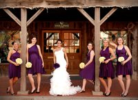 A-Line wrap dress - 2015 purple pink short beach bridesmaid dresses under cheap chiffon convertible multi way wrap handmade maid of honor dresses de23