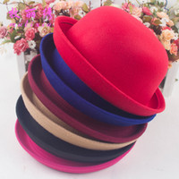 Wholesale 2015 New Fashion Vintage Woman Wool Cloche Hats Cap Winter Elegant Plain Bowler Derby Small Fedoras Hat Ladies hats by alice