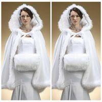 Wholesale Top Sale Short Bridal Cape White Wedding Cloaks Faux Fur With Satin Warm For Winter Wedding Bridal Wraps Bolero Hooded Jacket Cheap