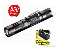 Cheap Nitecore P12 CREE XM-L2 (T6) LED Brightest Compact LED Tactical Flashlight - 950 Lumens+1pcs 3400mah 18650 battery+1pcs charger