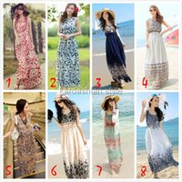 hawaiian dresses - 2015 New Summer Bohemian Hawaiian Long Beach Dress for Women Chiffon Floral Print Long Dresses Sleeveless Vest Dress Vestidos