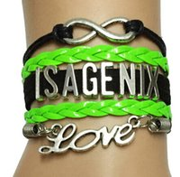 african company - 2016 new design Drop Shipping Infinity Love ISAGENIX Bracelet Customized Black with Neon Green Velvet Leather Strap Cosmetics Company Gift