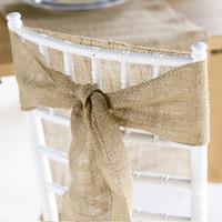 Wholesale Burlap Chair Sashes quot x quot cmx203cm Wedding Event parties Shows Jute Hessian Rustic Decorations Favours