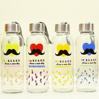 Wholesale 430ml Fashion cartoon mustache glasses leak proof seal cup portable outdoor portable water bottle transparent glass water bottle