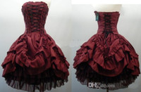 gothic wear - 2015 Party Dresses Strapless Burgundy Gothic Short Ball Gown Lace Up Corset Layered Taffeta Wedding Dress Cocktail Homecoming dresses Cheap