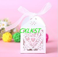 Wholesale Love Heart Laser Cut Candy Gift Boxes With Ribbon Wedding Party Favor Good Quality Brand New