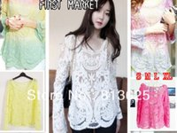 Cheap Size S TO XXL Sexy Women Sheer Sleeve Embroidery Floral Lace Crochet Tee T-Shirt Tops Blouse Drop Shopping