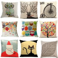 Wholesale New Home Decorative Sofa Cushion Cover Throw Pillow Case quot Vintage Decorbox Cotton Linen Square Cute Cartoon Owl ZH131 A3